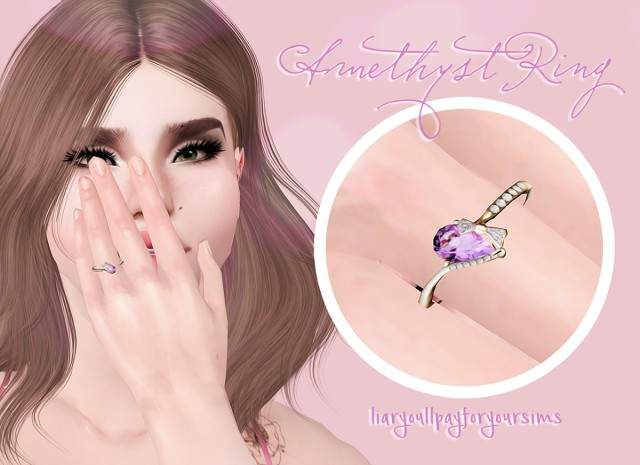 Amethyst Ring by liaryoullpayforyoursims