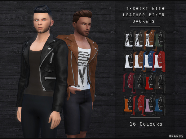 T-Shirt With Leather Biker Jacket by OranosTR