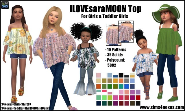 iLOVEsaraMOON Top by Sims4Nexus