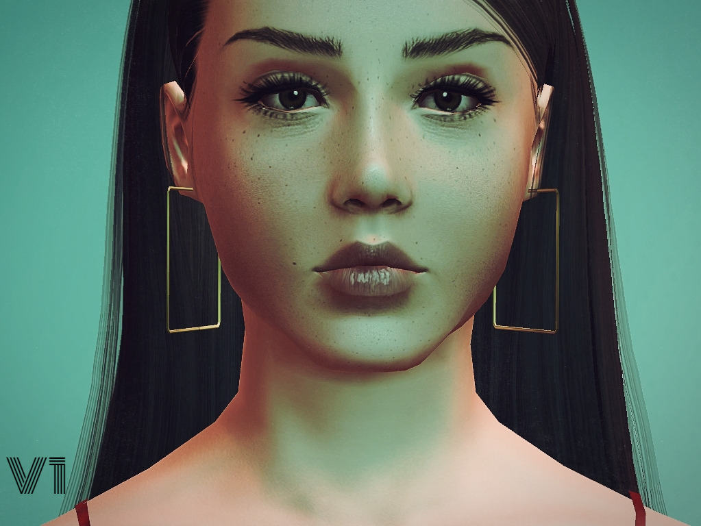 PralineSims Evelyn Square Hoops (2 versions) от inanaereshkigal