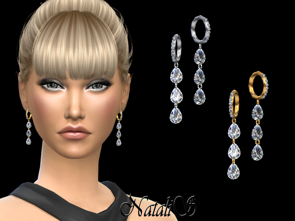 NataliS_Pear cut diamond drop earrings