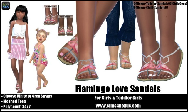 Flamingo Love Sandals by sims4nexus