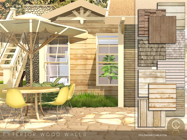Exterior Wood Walls by Pralinesims