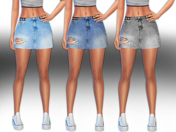 Superdry Super Little Ripped Denim Skirts by Saliwa