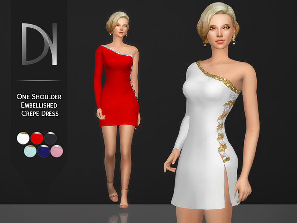 One Shoulder Embellished Crepe Dress by DarkNighTt