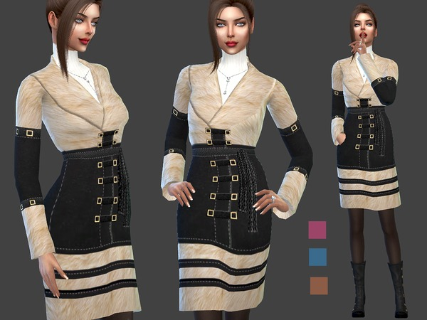 Sheepskin coat with white fur by Sims House