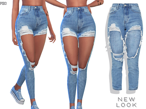 New Look High Rise Ripped Denim Jeans by Pinkzombiecupcakes