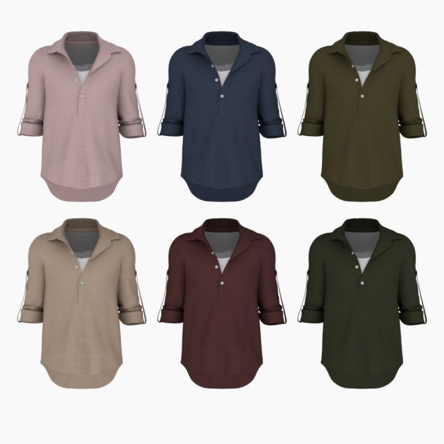 Linen Roll Up Henry Neck Shirts Update by bear-sims
