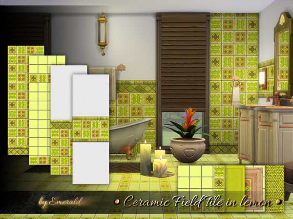 Ceramic Field Tile in lemon by emerald