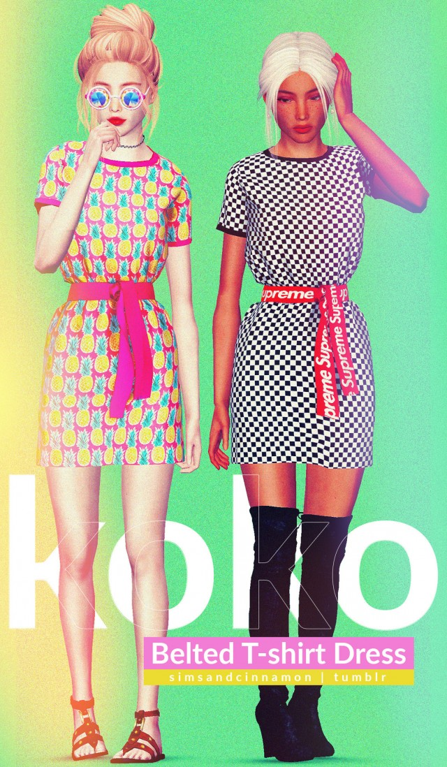 Koko Belted T-Shirt Dress by Simsandcinnamon