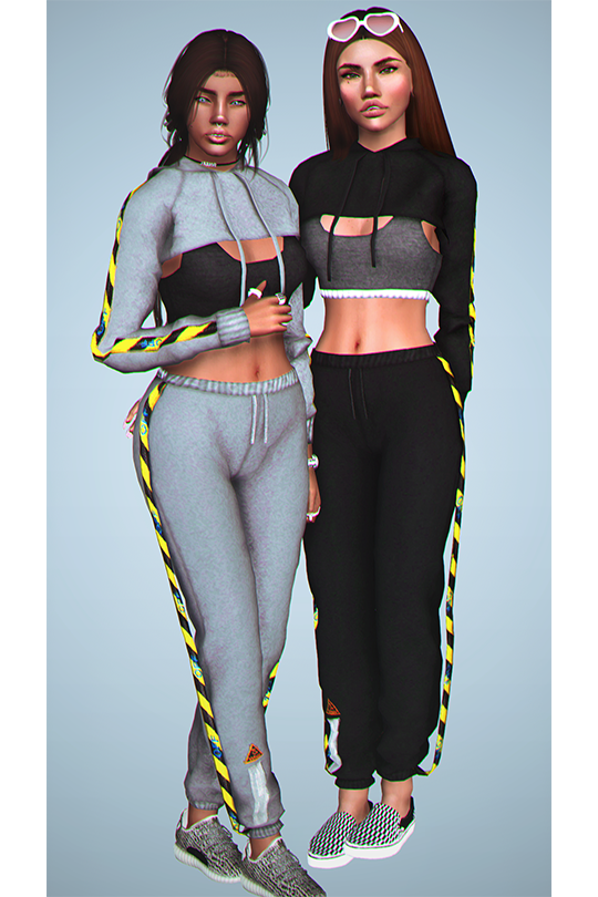 Off White Cropped Hoddie and Sports Bra by DizzieSims