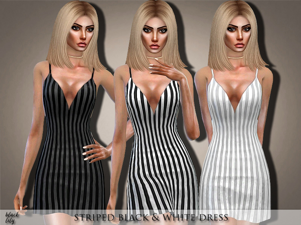 Striped Black & White Dress by Black Lily