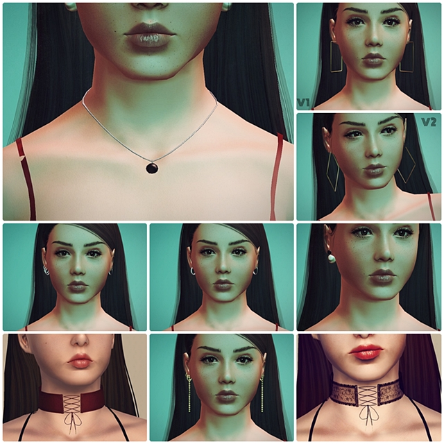 PralineSims Chokers + Earrings + Necklace 4to3 by inanaereshkigal