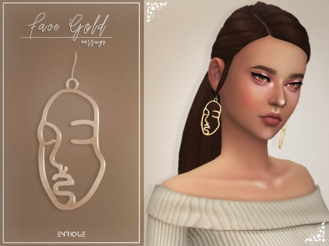 Face Gold Earrings by Enriques