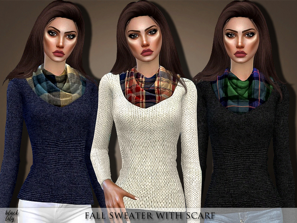 Fall Sweater with Scarf by Black Lily
