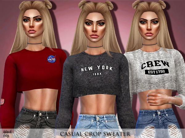 Casual Crop Sweater by Black Lily