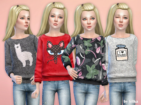 Printed Sweatshirt for Girls P31 by lillka