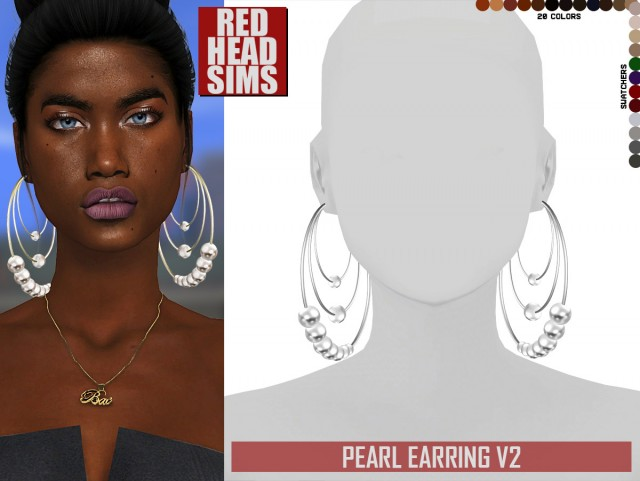 PEARL EARRING V2 by Redheadsims