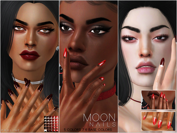 Moon Nails N23 by Pralinesims