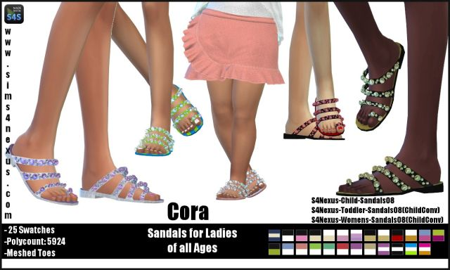 Cora sandals by sims4nexus
