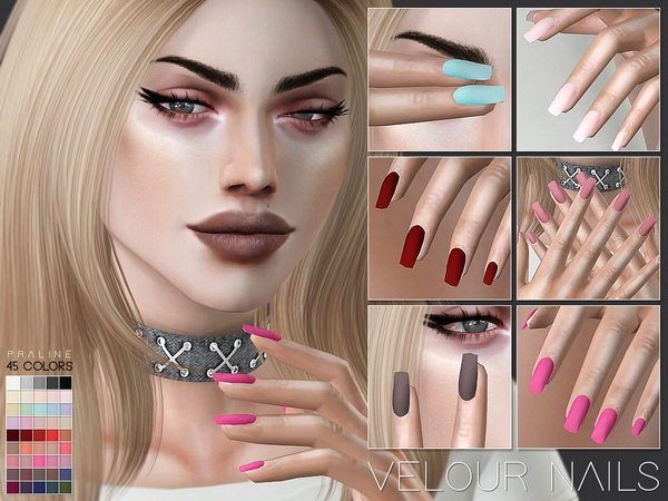 Velour Nails N24 by Pralinesims