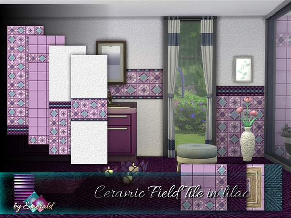 Ceramic Field Tile in lilac by emerald