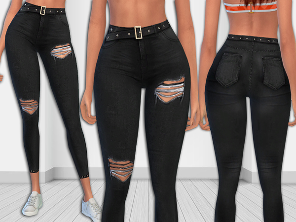 Black Realistic Ripped Jeans with Leather Belt by Saliwa