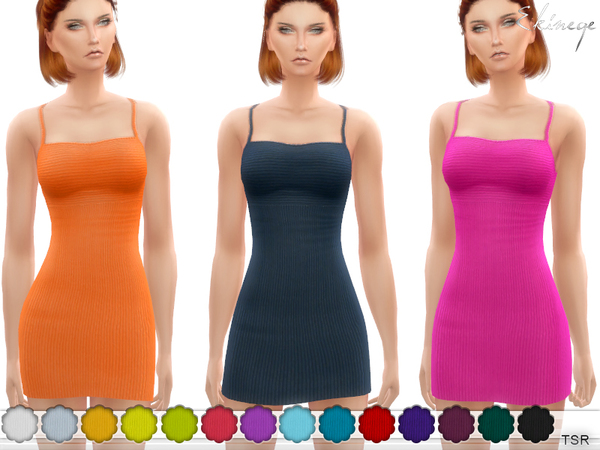 Ribbed Spaghetti Strap Dress by ekinege