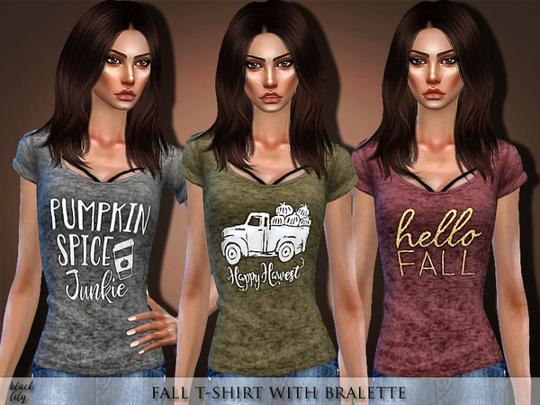Fall T-Shirt with Bralette by Black Lily