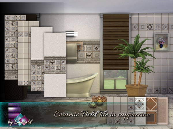Ceramic Field Tile in cappuccino by emerald