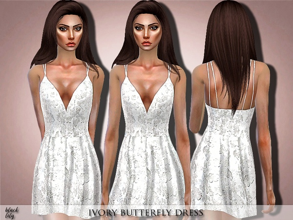 Ivory Butterfly Dress by Black Lily