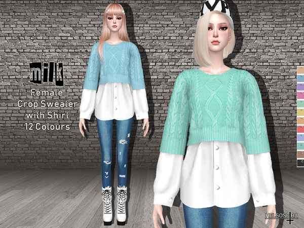 MILK - Crop Sweater Shirt by Helsoseira
