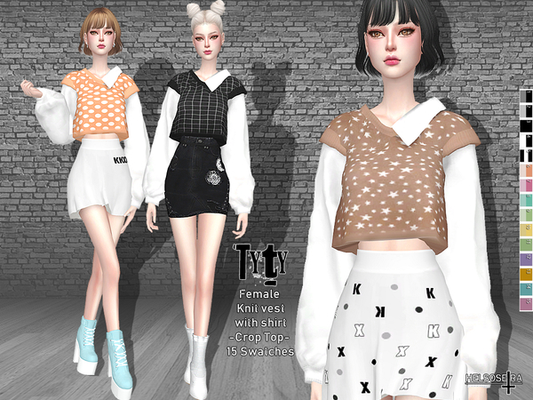 TYTY - Knit Vest with Shirt - Top by Helsoseira