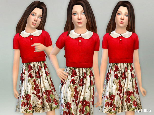Red Floral Collared Dress by lillka