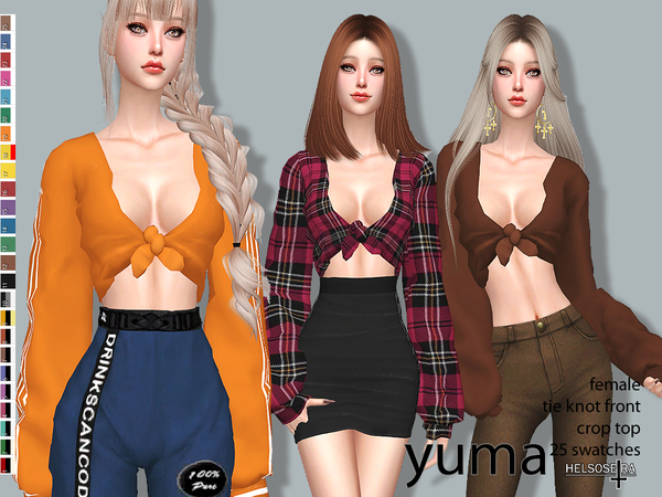 YUMA - Tie Knot Front - Crop Top by Helsoseira