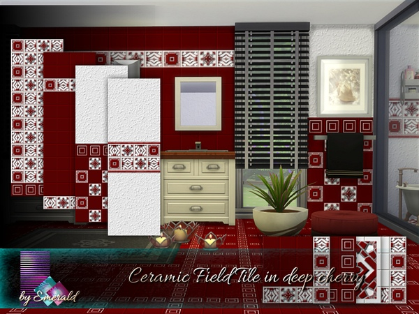 Ceramic Field Tile in deep cherry by emerald