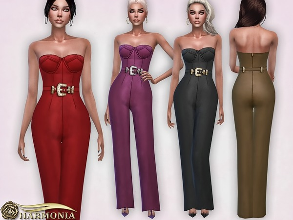 Vegan Leather Wide Leg Jumpsuit by Harmonia