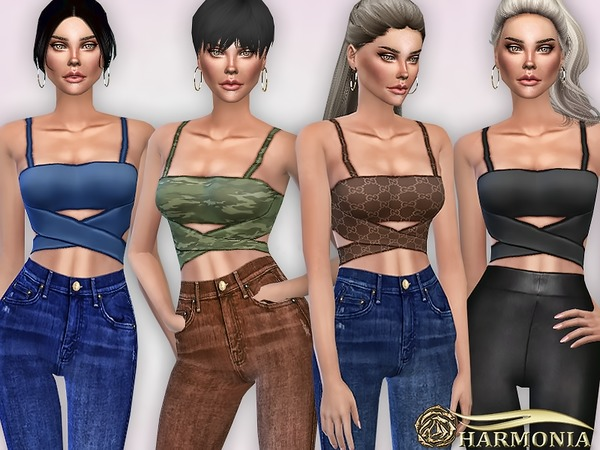 Criss-Cross Front Crop Top by Harmonia