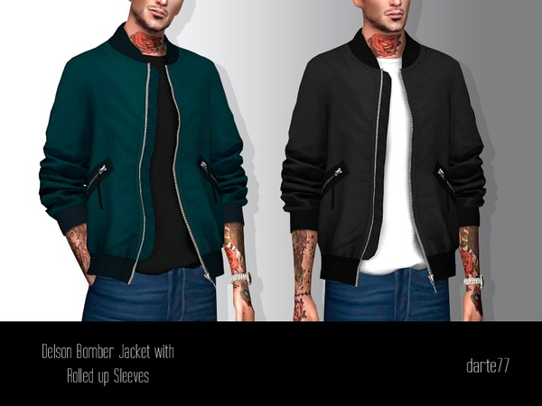 Bomber Jacket with Rolled up Sleeves by Darte77