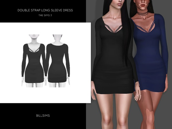 Double Strap Long Sleeve Dress by Bill Sims