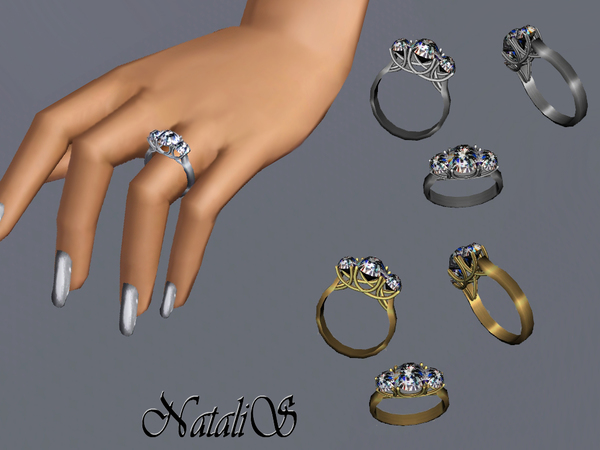 NataliS TS3 Three stone trellis ring