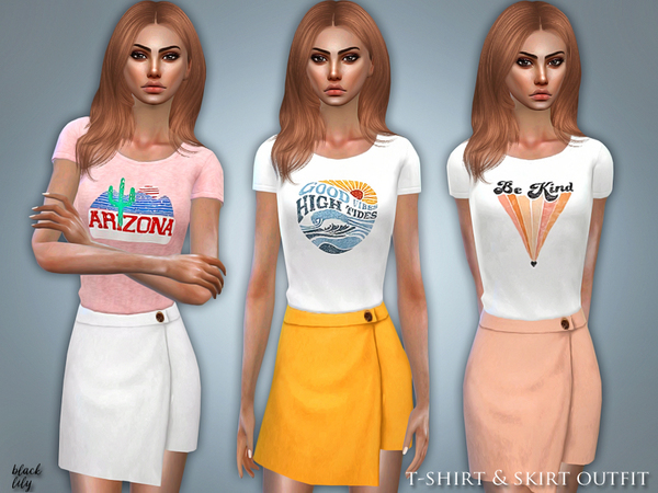T-Shirt & Skirt Outfit by Black Lily