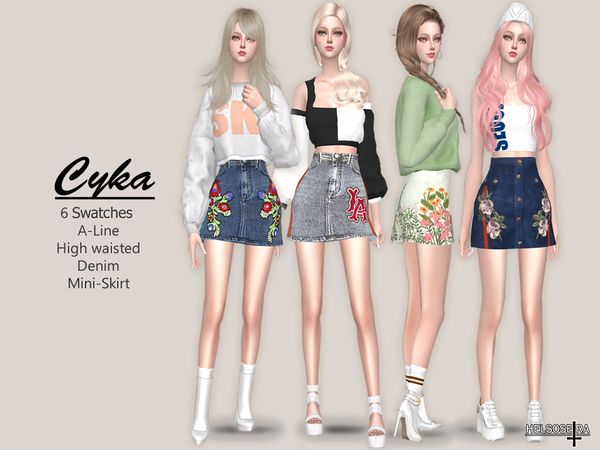 CYKA - Denim Mini Skirt by Helsoseira