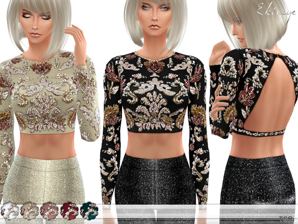 Embellished Open Back Cropped Top by ekinege