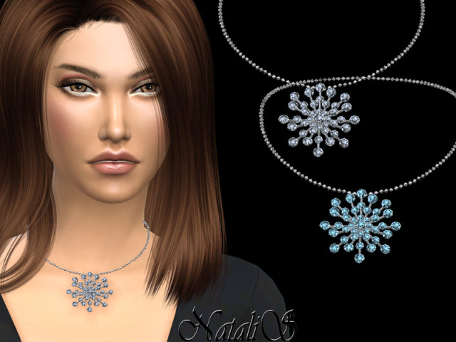 Round crystals snowflake necklace by NataliS