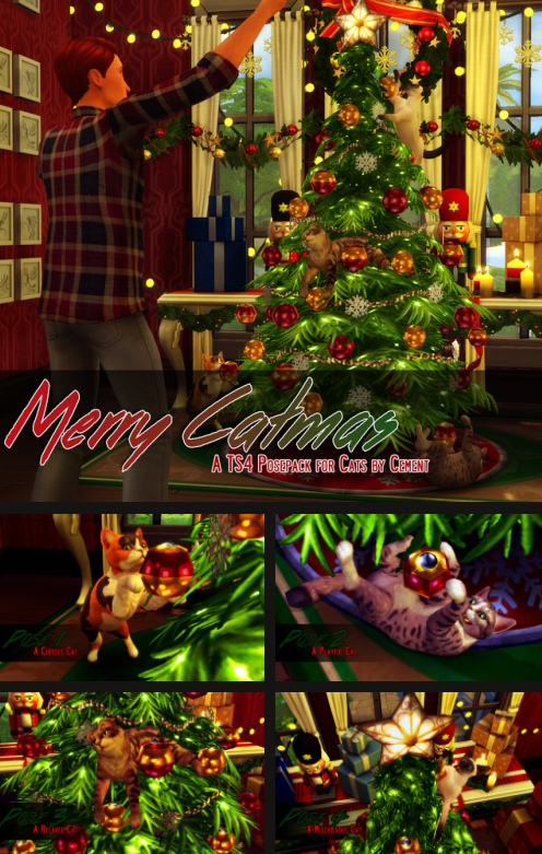 """""""Merry Catmas"""" - A TS4 Posepack for Cats by cmescapade"""