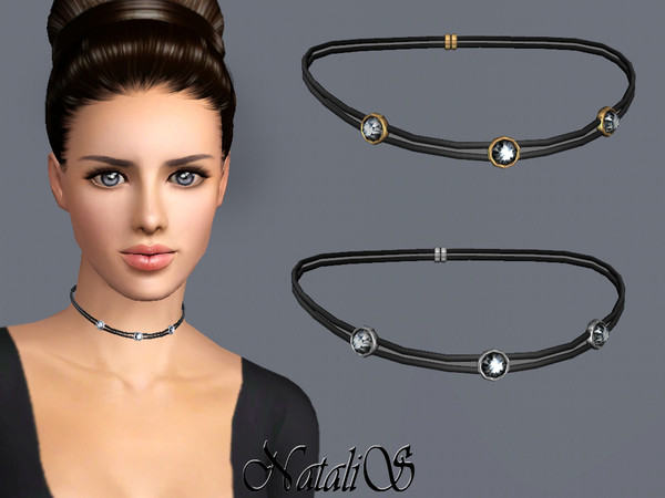 NataliS TS3 Double leather choker with crystals