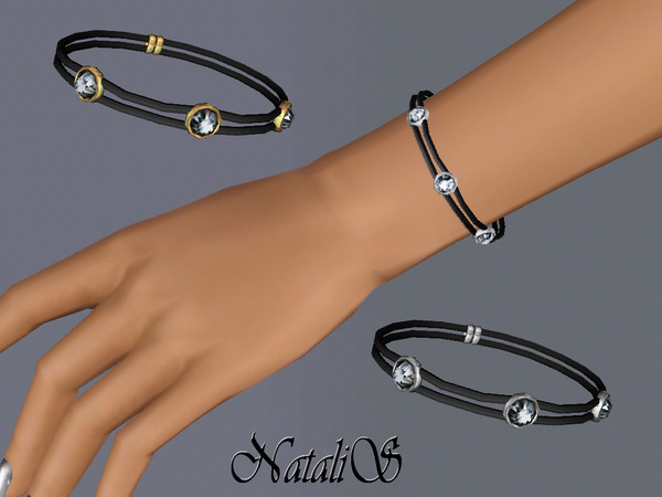 NataliS TS3 Double leather bracelet with crystals