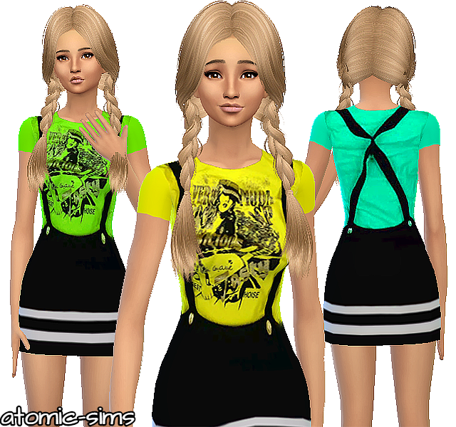 Chinafansims Yellow print top with skirt conversion by Atomic-sims