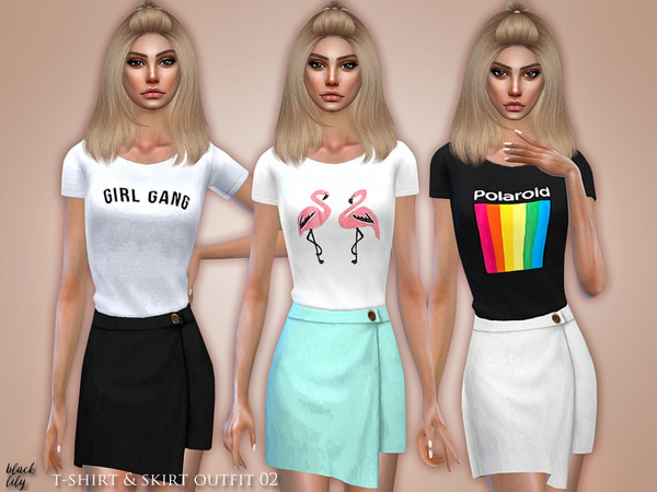 T-Shirt & Skirt Outfit 02 by Black Lily